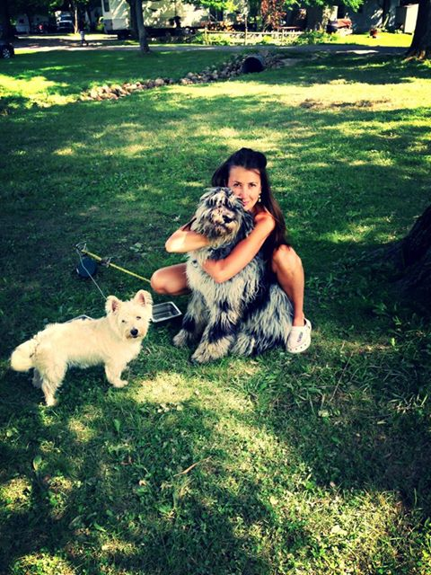 Our dance instructor Anya with her dogs...