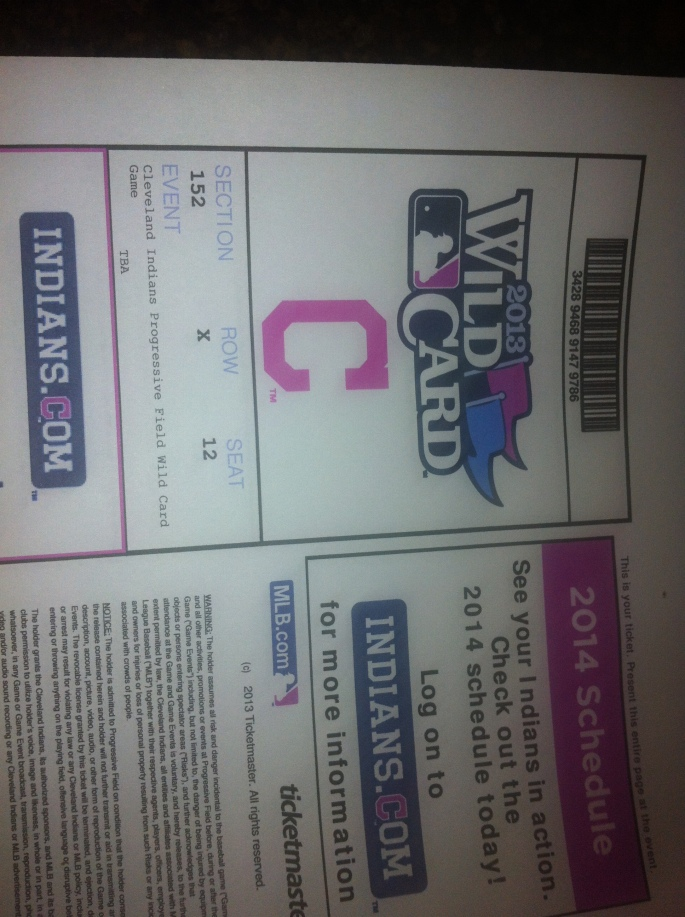 Our tickets to Wednesdays playoff game