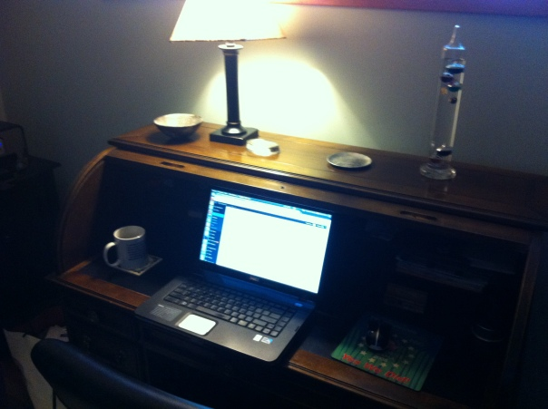 The desk of the blogger.