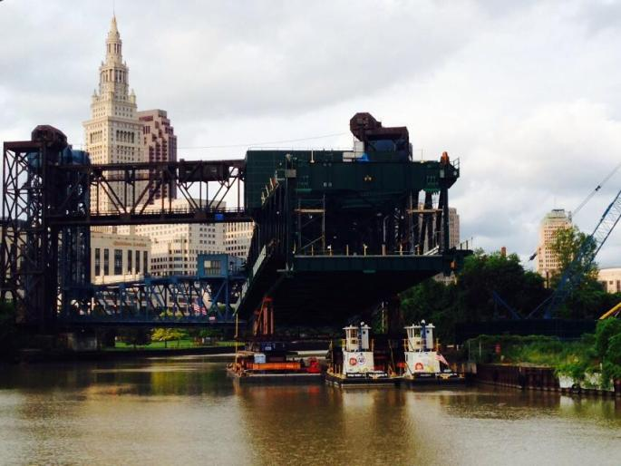 New Lift Bridge being floated down the Cuyahoga River (Shawn Kenney
