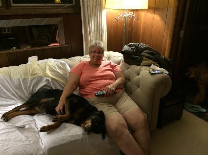 Sharon with Valerie's Dog Laila.