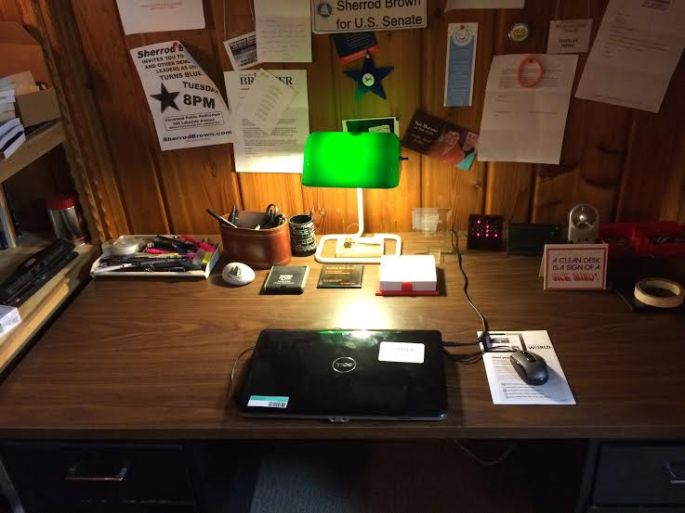 desk with old computer