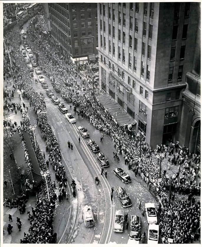 parade for 1948 Indians - world champs drew 200,000