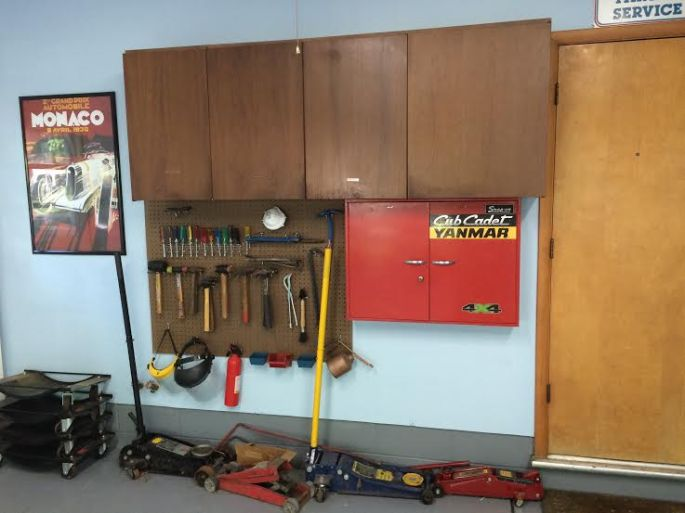 pegboard and cabinet