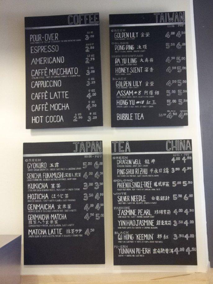 menu at vintage