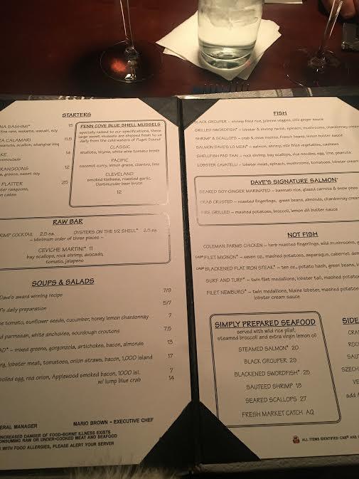 her menu...